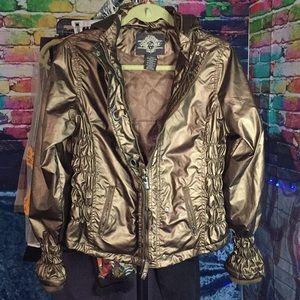 Ladies Hooded Gold Metallic Short Rain Jacket